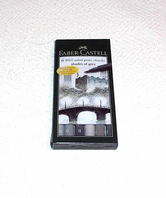 Faber Castell 6 Pitt Artist Pens Brush Shades Of Grey