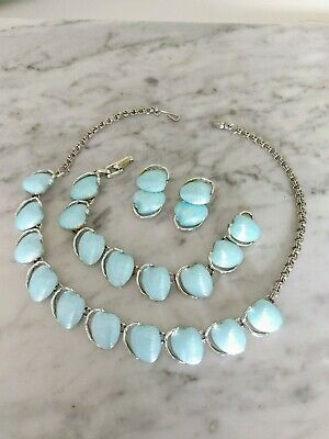 RARE Vintage Lucite Pale Blue PARURE Silver Necklace Bracelet Earrings Set