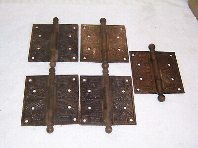 5 antique eastlake 4.5 x 4.5 door hinges brass vintage ornate 10 hinges