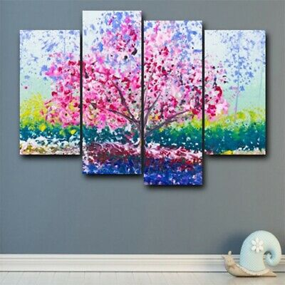 4Pcs Canvas Abstract Flower Tree Oil Wall Painting HD Modern Art Home Decor