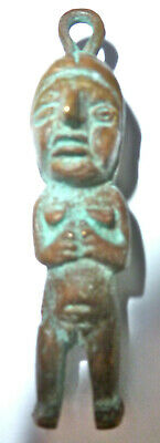 Antique Egypt? Africa Figure Bronze Super Patina Pendant Charm Amulet Unsex 2.5""