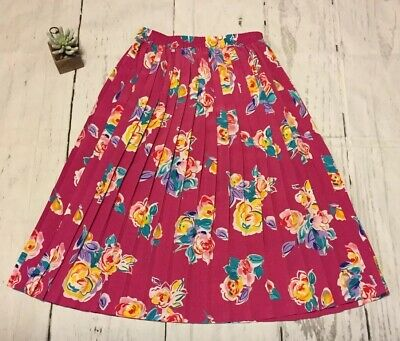 8909490b4f Alfred Dunner Petite Pleated Skirt Elastic Waist Pink Floral Size 12 Petite