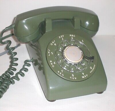 Vintage Rotary Dial Phone Desk Green WESTERN ELECTRIC Bell System CD 500 Works