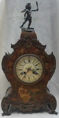 Antique A Louis XV-style hand-painted mantel clock - 19th Century
