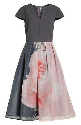 8fcb31eef576 TED BAKER London Grey Pink Floral Noura Blenheim Palace Midi Pleated Skirt  5 14