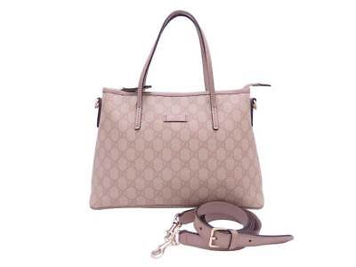 4c8e97c552ef Auth Gucci GG Supreme 2-way Handbag Shoulder Bag Pink Beige PVC/Leather -