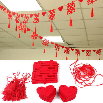 3 Meters Non-woven Double Happiness Hanging Decor Tassel Wedding Streamer New