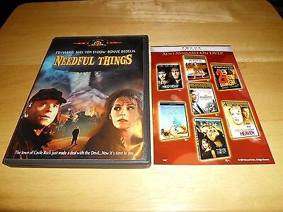 Needful Things (DVD, 2002) Ed Harris, Max Von Sydow; Rare/OOP! 1993 Horror Film