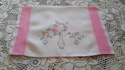 Vtg. Handmade Floral Embroidered/Cross Stitched Linen Towel Pink & White/Shabby