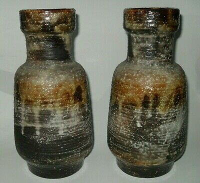 Vintage Pair Carstens West Germany Fat Lava Mid-Century Drip Vases Double House