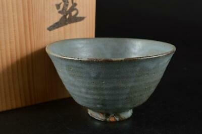 S964: Japanese Koito-ware Blue glaze TEA BOWL Green tea tool, auto w/signed box