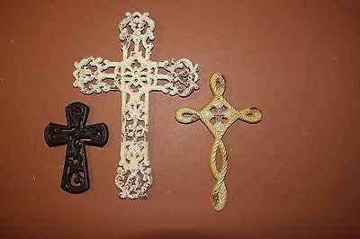 (3) Distressed Shabby Country Cottage Cast Iron Wall Crosses Collection