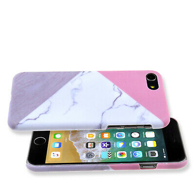 Granite Marble Contrast Color PC Hard Phone Case Fit For iPhone 6/6s 7 8 Plus