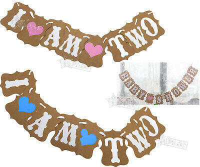 I AM TWO Bunting Garland Banner Baby Girl Boy 2nd Birthday Party Decoration Gift