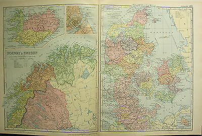 1894 Antique Map ~ Northern Norway & Sweden ~ Iceland Denmark Schleswig-Holstein