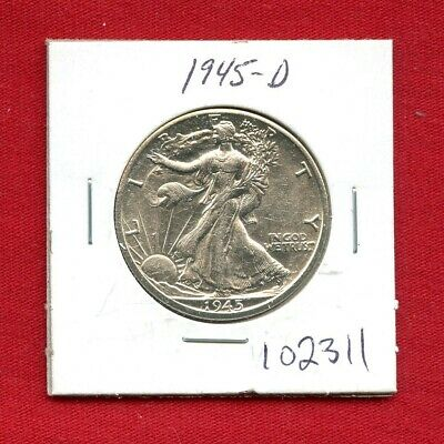1945 D Walking Liberty Silver Half Dollar #102311 High Grade Us Mint Rare Estate
