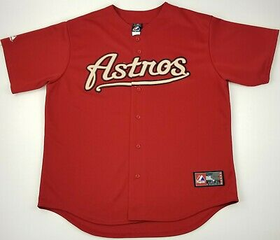 727761556 Houston Astros Red Burgundy Sewn MLB Script Majestic Baseball Jersey Size XL