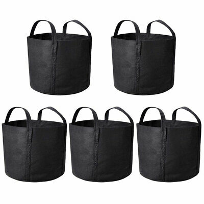 5 Pack Grow Bags Fabric Pots Root Pouch with Handles Planting Container 7 Gallon