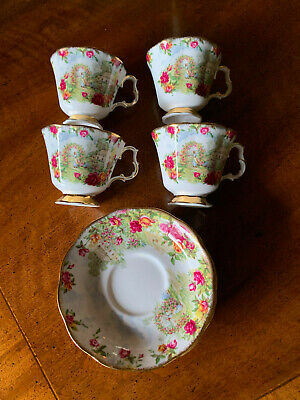 Set of 4 ROYAL ALBERT Old Country Rose Gardens Tea Cups & Saucers -EXCELLENT