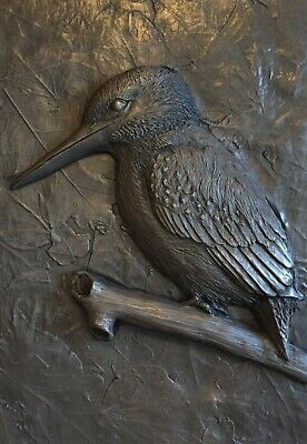 Cold Cast Bronze Kingfisher Sculpture Signed Wall Art Plaque Relief HAND MADE