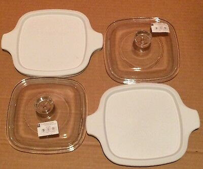 4 NEW Replacement Corning Petite Dish Lids  2 GLASS, 2 PLASTIC, Fits P-41 & P-43