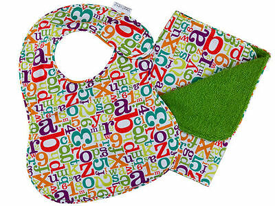 Iota Baby Newborn Bib + Burp Set Alphabet Soup Green Terry Cloth NEW Neutral
