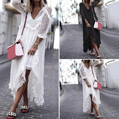 Women Plus Size Loose Casual 3/4 Sleeve Long Maxi Dress V Neck Baggy Lace Up