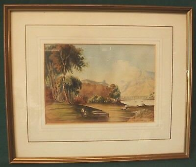 Antique Francis Olver Finch Watercolour Painting Picture (1826) River Scene