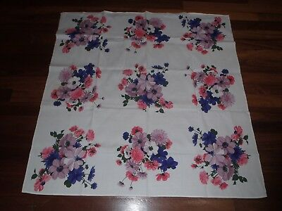 Vintage Tablecloth, Floral Print, High Tea, Pink And Purple