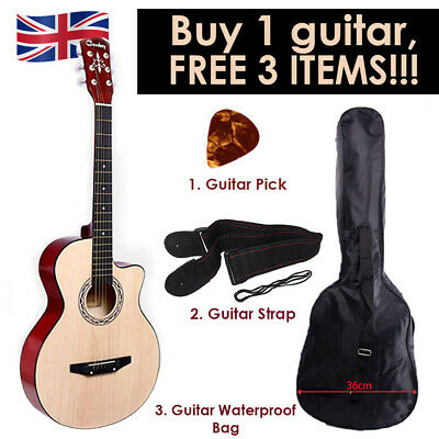 "Walnut Acoustic Classic Guitar 3/4 Size 38"" with 3 FREE items Strap Picks Bag UK"