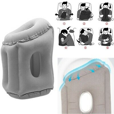Inflatable Air Travel Pillow Airplane Neck Head Chin Cushion Office Nap Rest OL