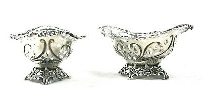 Antique Victorian Sterling Silver Sweet Dishes Footed Pair 1893