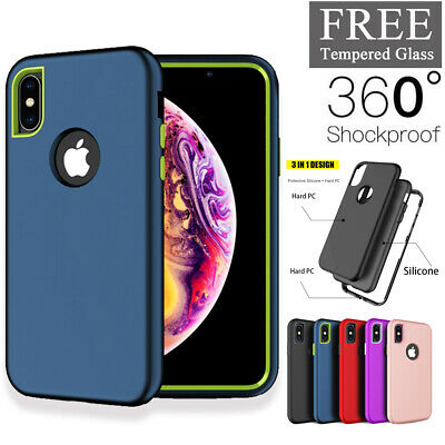 For iPhone XR XS XS Max 7 8 Plus Case 360 Shockproof Full Protective Hard  Cover