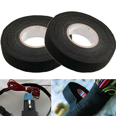 1Roll 19mm*15m Adhesive Cloth Fabric Tape Cable Looms Wiring Harness For Car New