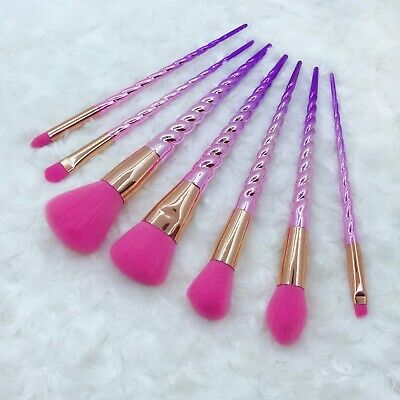 7pcs Glitter Makeup Brushes Soft Powder Eye Shadow Crease Cute Unicorn Brush Set
