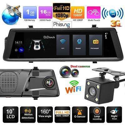 10 Zoll Android Dual Lens 1080P GPS Navi Dashcam Rearview Mirror Auto DVR WiFi