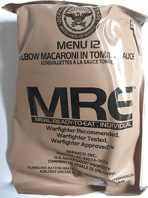 MRE Menu 12, Elbow Macaroni in Tomato Sauce, vegetarian, US Army MRE EPA