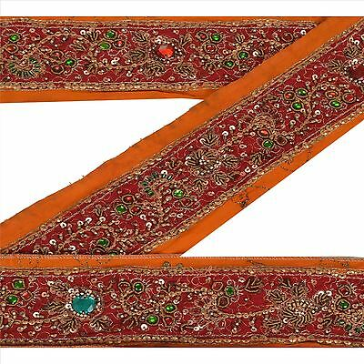 Sanskriti Vintage Sari Border Indian Craft Orange Trim Hand Beaded Ribbon Lace Embellishments & Finishes