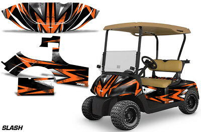 Golf Cart Graphics Kit Decal Sticker Wrap For E-Z-Go RXV 2008-2015 SLASH ORG BLK