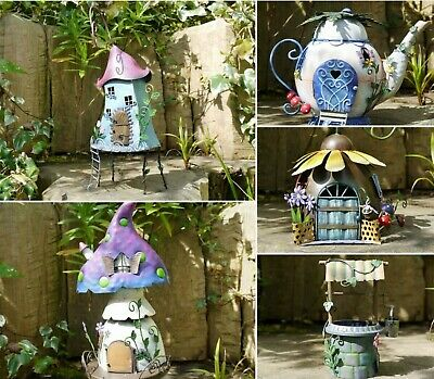 Fairy Treehouse,Teapot, Sunflower House Wishing Well Metal Garden Decor Ornament