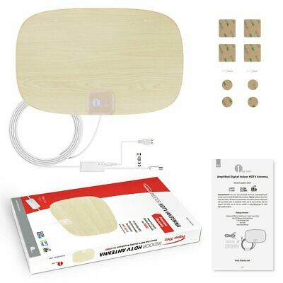 1byone 200 Mile TV Aerial Digital Freeview Thin Indoor HDTV Antenna Amplifiled