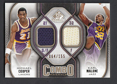 5af326e4e Michael Cooper-Karl Malone 2009-10 SP Game Used Combo Materials Jersey Card
