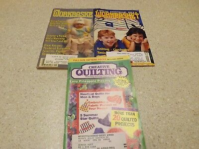 Lot Vintage Workbasket Magazine & Quilt 80s-90s  Tatting Knitting Crochet Recipe