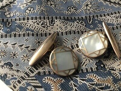 Vintage Art Deco Gold Gilt Mother Of Pearl Geometric Pattern Round Cufflinks