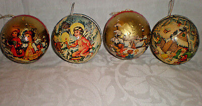 4 Vintage Paper Mache Christmas Ornament Western Germany Candy Container opens