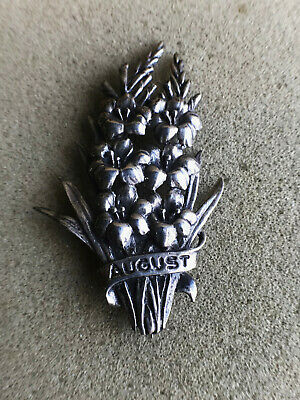 Victorian Solid silver AUGUST brooch