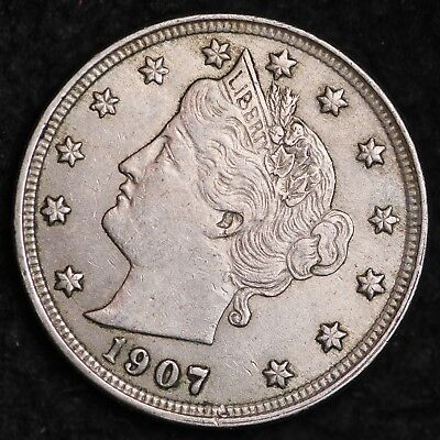 1907 Liberty V Nickel CHOICE AU FREE SHIPPING E214 ANT