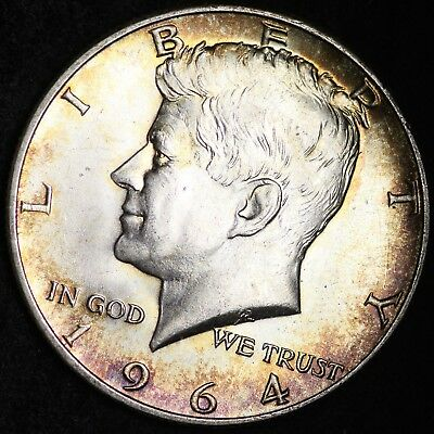 1964-D Kennedy Half Dollar CHOICE BU TONED FREE SHIPPING E382 T