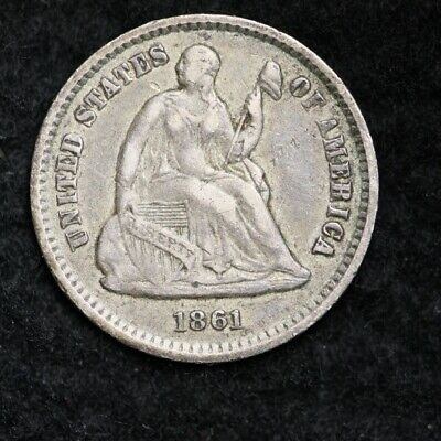 1861 Seated Liberty Half Dime CHOICE XF+/AU FREE SHIPPING E283 XNE