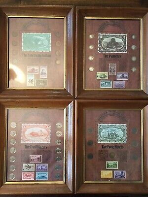 Framed Coins Stamps Collection Mercury Dimes Indian Head Liberty Buffalo Nickel